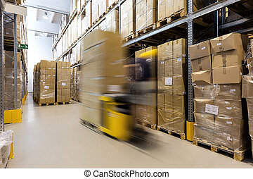 Fork lift operator with products - Fork lift operator...