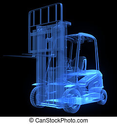 Fork lift truck, front view