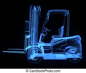 Fork lift truck, side view