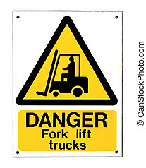 Fork Lift Truck Sign - Fork lift truck operating warning...