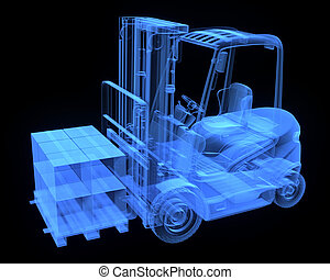 Fork lift truck, with cardboards