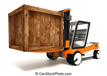 fork lifter transporting wooden crate - fork lifter and...