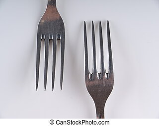 Fork on a gray background