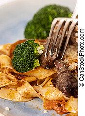 fork on pasta