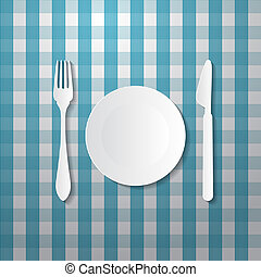 Fork, Plate and Knife Made from Paper on Blue Tablecloth