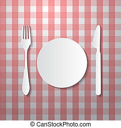 Fork, Plate and Knife Made from Paper on Tablecloth