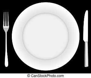 fork plate and knife on a black background