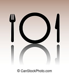 Fork, plate and knife vector illustration. Cutlery