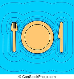 Fork, plate and knife. Vector. Sand color icon with black contour and equidistant blue contours like field at sky blue background. Like waves on map - island in ocean or sea.