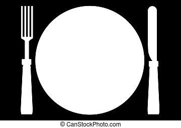 Fork-Plate-Knife - Illustration of fork, plate and knife