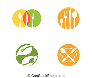 Fork, plate, spoon icon vector