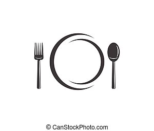 Fork plate spoon icon vector illustration - Fork, plate,...