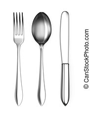 Fork, spoon and knife - 3d render of fork, spoon and knife...
