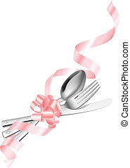 Fork spoon and knife which has been tied up by a ribbon