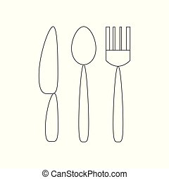 Fork, spoon and knife icon.