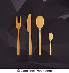 Fork spoon and knife sign. Golden style on background with polygons.
