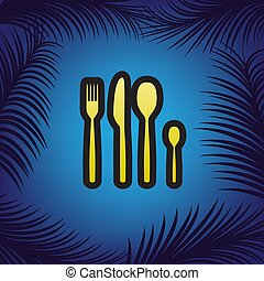 Fork spoon and knife sign. Vector. Golden icon with black contou