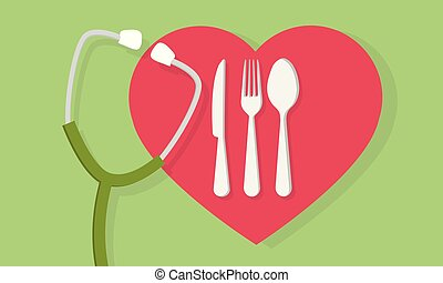 Fork spoon and knife with heart shape and a stethoscope medical concept