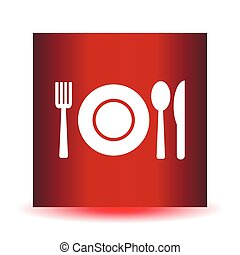 Fork, spoon and plate, vector icon