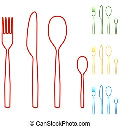 fork spoon knife line icons