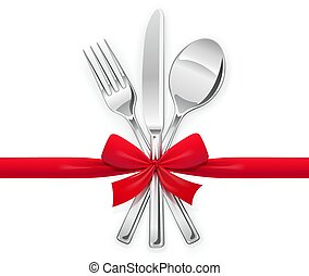 Fork, spoon, knife with red bow. Set of utensils for eating.