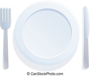 Fork spoon plate icon, cartoon style