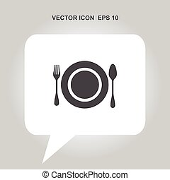 fork spoon plate vector icon