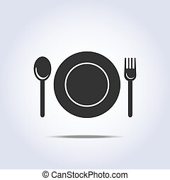 fork spun plate icon - fork spun and plate icon in vector