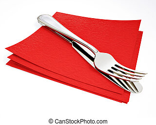 fork - steel fork and knife on a red  napkin