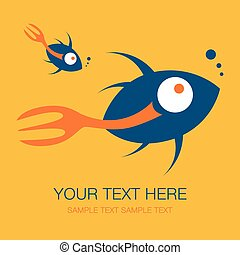 Fork tailed fish design. - Fork tailed fish design with text...