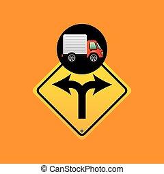 fork traffic sign concept