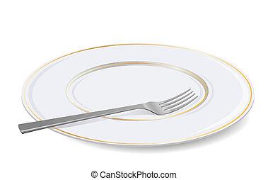 fork., vit, vektor, tallrik
