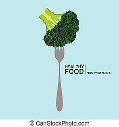 Fork with a brocoli. Healthy food concept