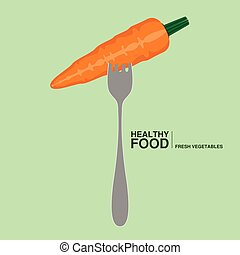 Fork with a carrot. Healthy food concept