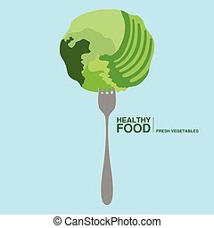Fork with a lettuce. Healthy food concept