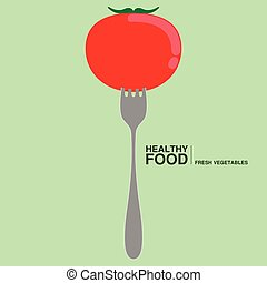 Fork with a tomato. Healthy food concept