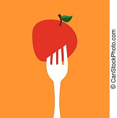 fork with apple icon