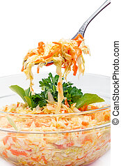 Fork with coleslaw - Bowl of salad from fresh cabbage with ...