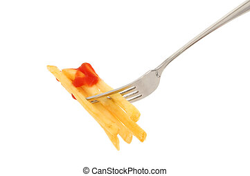 Fork with French fries and ketchup
