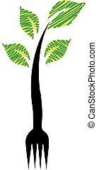 Fork with green leaves- Logo