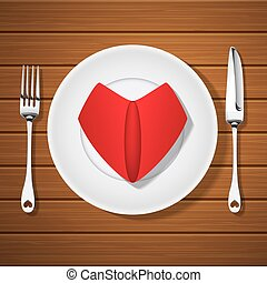fork with knife and folded red napkin in heart shape on blank plate