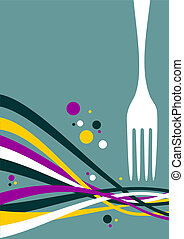 Fork with multicolored waves background