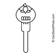 fork with tomato fresh vegetable isolated icon