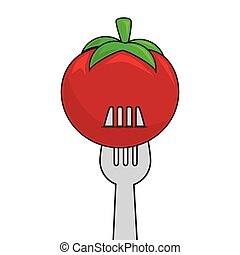 fork with tomato vegetable