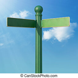 Forked Street Sign - A Blank old-Fashoned street sign for a...