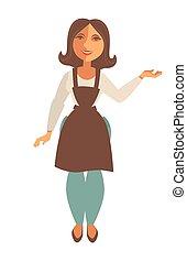 forklæde, saleswoman, lejlighed, isoleret, handel, vektor, ...