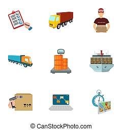 forklift, aereo carico, beni, documenti, e, altro, articoli, in, il, consegna, e, transportation., logistica, e, consegna, set, collezione, icone, in, cartone animato, stile, isometrico, bitmap, simbolo, illustrazione riserva, web.