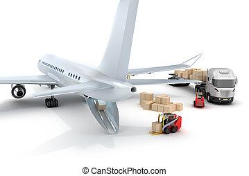 forklift, :, aeroporto, caricamento, aeroplano