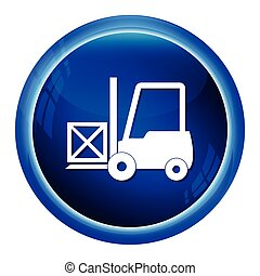 Forklift and crate icon vector illustration