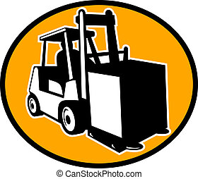 Forklift and operator viewed from side - illustration of a...